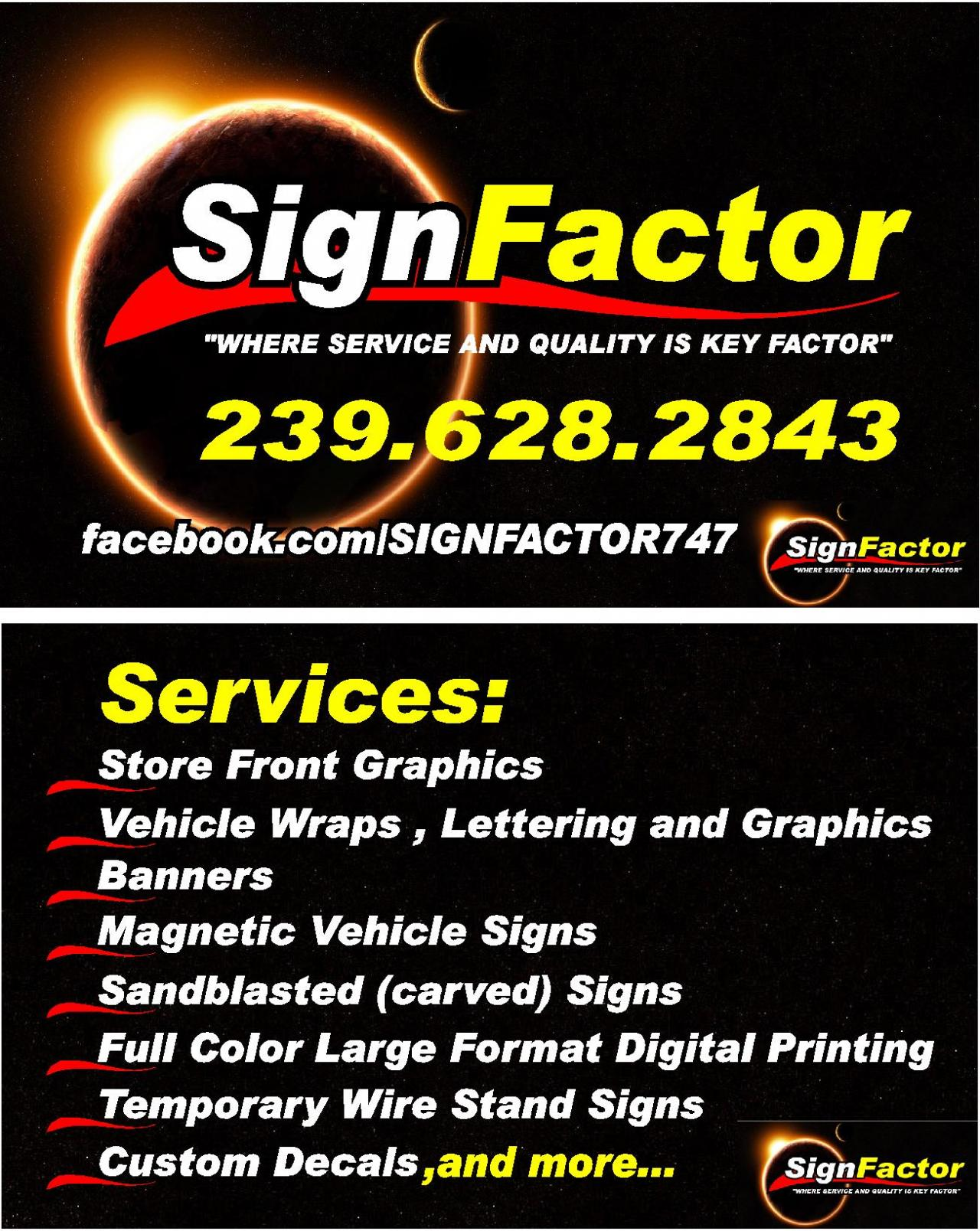 signfactor of fort myers business cards